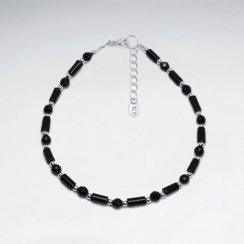 """7"""" Black Stone Tube Silver Bracelet"""