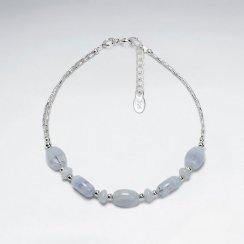 "7"" Blue Agate Silver Bracelet"