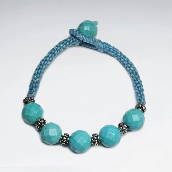 "7"" Blue Macrame Waxed Cotton Bracelet With Blue Stone"