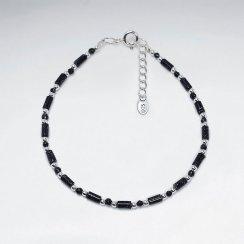 "7"" Blue Sand Stone Tube Silver Bracelet"