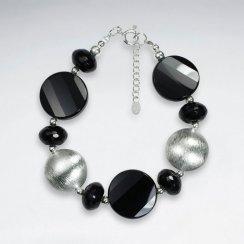 "7"" Bold Chunky Black and Silver Clasp Bracelet"