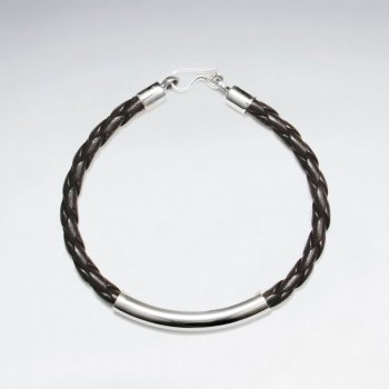 """7"""" Brown Braided Leather IBracelets With Silver Tube And Closing"""