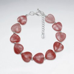 "7"" Cherry Quartz Heart Silver Bracelet"