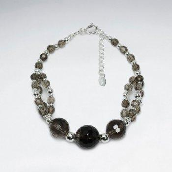"7"" Clustered Smoky Quartz Silver Bracelet"