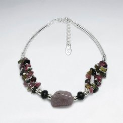 "7"" Clustered Tourmaline Nugget With Long Curve Silver Tube Bracelet"