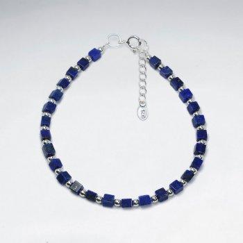 "7"" Cube Lapis Lazuli Silver Bracelet"