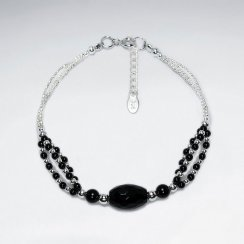"7"" Double Strand Silver Bracelet With Round Faceted Black Stone"
