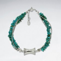 "7""  Double Strands Nugget Turquoise Bracelet With Hour Glass Silver Bead"