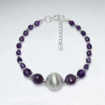 "7"" Faceted Amethyst Bracelet With Matted Silver Ball"