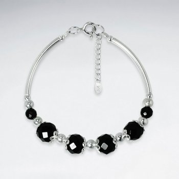 "7"" Faceted Black Stone Bracelet With Curve Silver Tube"