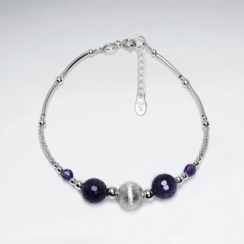 "7"" Faceted Round Amethyst Bracelet With Matted Silver Ball And Curve Tube"