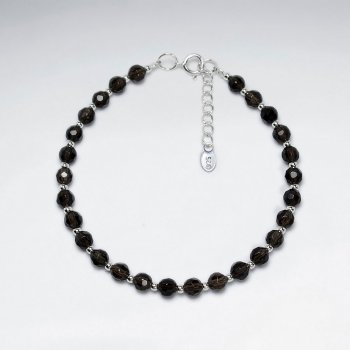 "7"" Faceted Round Smoky Quartz Silver Bracelet"