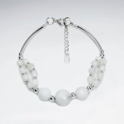 "7"" Faceted White Onyx With Curve Tube Silver Bracelet"