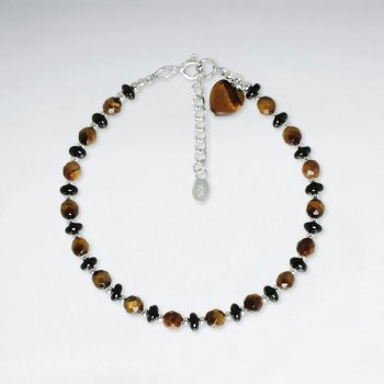 "7"" Heart Shape Tiger Eye Silver"