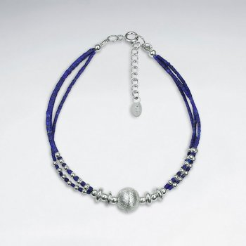 "7"" Lapis Lazuli Bracelet With Matted Silver Ball"