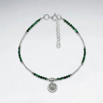 """7"""" Malachite Bracelet With Yin Yang Silver Charm"""