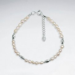 "7"" Mother Of Pearl Bracelet With Faceted Antique Silver Beads"