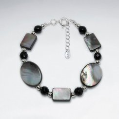 "7"" Multi Shape Sampang And Black Stone Silver Bracelet"