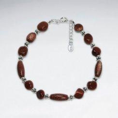 "7"" Natural Shape Gold Sand Stone Silver Bracelet"