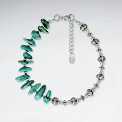 "7"" Nugget Turquoise Bracelet With Antique Silver Beads"