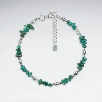 "7"" Nugget Turquoise Silver Bracelet"