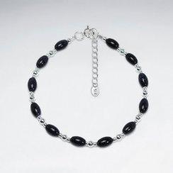 """7"""" Oval Blue Sand Stone Silver Bracelet"""