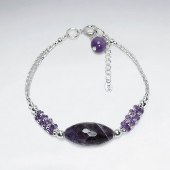 "7"" Oval Faceted Amethyst Silver Bracelet"