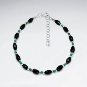 "7"" Oval Faceted Black Stone Silver Bracelet"