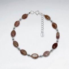 "7"" Oval Red Star Jasper Silver Bracelet"