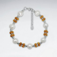 "7"" Pearl And Topaz Silver Bracelet"
