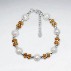 "7"" Pearl And Topaz Silver Bracelet"