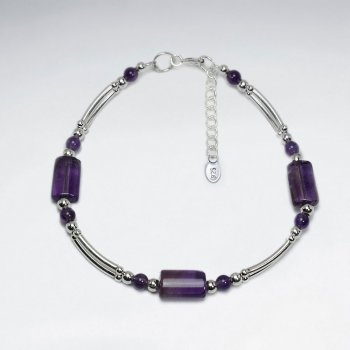 "7"" Rectangle Amethyst Bracelet With Double Curve Silver Tube"