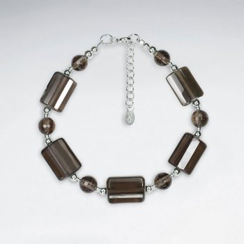 "7"" Rectangle And Round Faceted  Smoky Quartz Silver Bracelet"