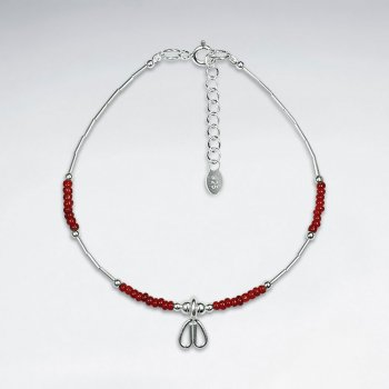"7"" Red Glass Bead Bracelet With Heart Charm"