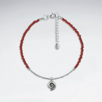 "7"" Red Glass Bead With Spiral Silver Charm Bracelet"