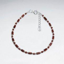 "7"" Red Sand Stone Silver Bracelet"