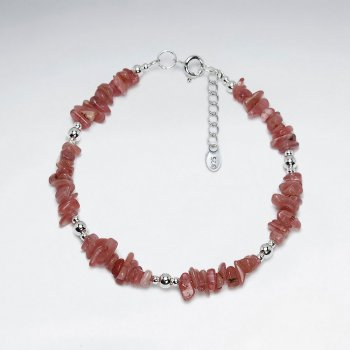 "7"" Rhodocrosite Nugget And Silver Bead Bracelet"