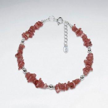 "7"" Rhodocrosite Nugget And Silver Bead Bracelet"
