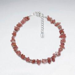 "7"" Rhodocrosite Nugget Silver Bracelet"