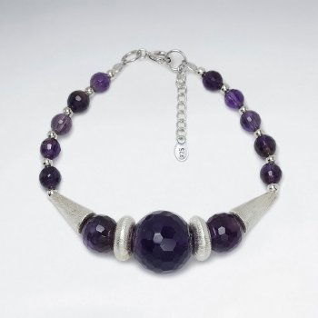 "7"" Round Amethyst Faceted With Silver Cone Bead Bracelet"