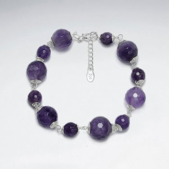 "7"" Round Amethyst Silver Bracelet"
