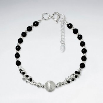 "7"" Round Black Stone Bracelet With Matted Silver Ball"