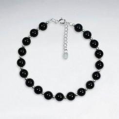 "7"" Round Black Stone Silver Bracelet"
