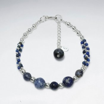 "7"" Round Clustered Lapis Lazuli  Silver Bracelet"