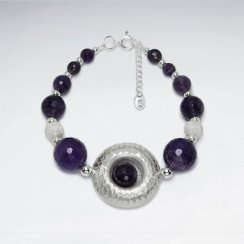"7"" Round Faceted Amethyst With Open Circle Silver Bracelet"