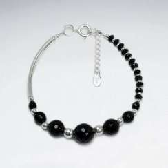 "7"" Round Faceted Black Stone Bracelet With Silver Tube"