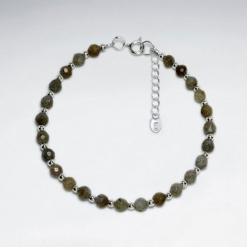 "7"" Round Faceted Labradorite Silver Bracelet"