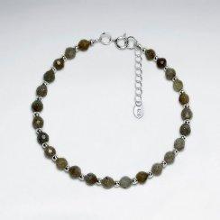 "7"" Round Faceted Labradorite Silver Bracelet"