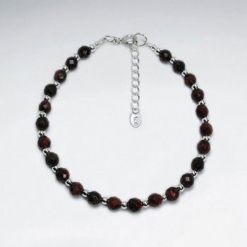 "7"" Round Faceted Red Tiger Eye Silver Bracelet"