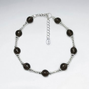 "7"" Round Faceted Smoky Quartz And Silver Beads Bracelet"